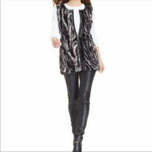 Style & Co Marbled Faux Vegan Fur Zip Vest